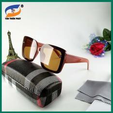 Mắt kính râm nữ – Video test UV – Đủ hộp đựng kính và phụ kiện – Mắt kính nữ thời trang màu nâu đỏ, chống nắng bản to, form ôm mặt