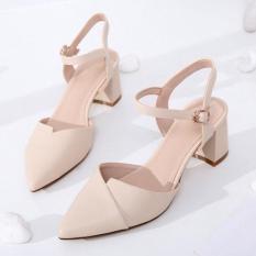 Sandal cao gót mũi nhọn 5p 2 màu kem và đen hàng thiết kế cực đep