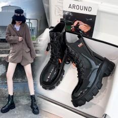 Giày Bốt nữ V7 chất liệu da siêu đẹp, ôm chân, Giày boot nữ cao cổ độn đế 6 phân êm chân