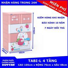 Tủ nhựa Duy Tân TABI-L 4 tầng (Hồng Thỏ Dâu)