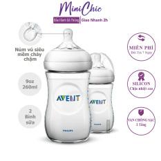 Bình sữa Avent, bình sữa silicon cổ rộng cho bé 125ml, 260ml bằng nhữa PP, có tách set