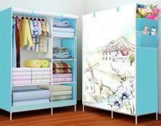 Tủ vải quần áo 2 buồng 6 ngăn hoa văn tươi sáng chịu lực tốt
