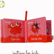 Sách vải – Kích thích thị giác Song ngữ Việt – Anh kích thích phát triển đa giác quan cho trẻ từ sơ sinh, 8 trang