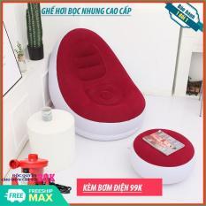Ghế hơi – Ghế hơi bọc nhung Senyoubao Trắng Đỏ – Ghế hơi bọc nhung cao cấp – Phân loại kèm bơm/không kèm bơm – (BẢO HÀNH 1 ĐỔI 1 TRONG VÒNG 7 NGÀY)