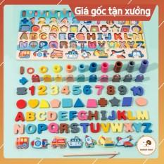 [AN TOÀN CHO BÉ] Bộ đồ chơi câu cá bảng chữ cái và ghép số học chữ số cho trẻ nhỏ, bộ bảng số và chữ thông minh bằng gỗ