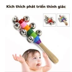 Đồ chơi âm nhạc trẻ em lục lạc ( xúc xắc ) chuôi gỗ nhiều màu giúp phát triển trí não và cảm quan cho bé từ 0 tuổi trở lên