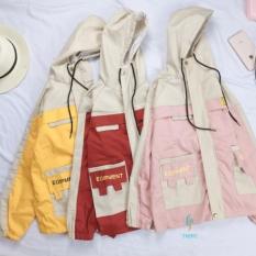 Áo khoác kaki 2 túi hộp nam nữ, kết hợp phối 2 màu có mũ cổ rút