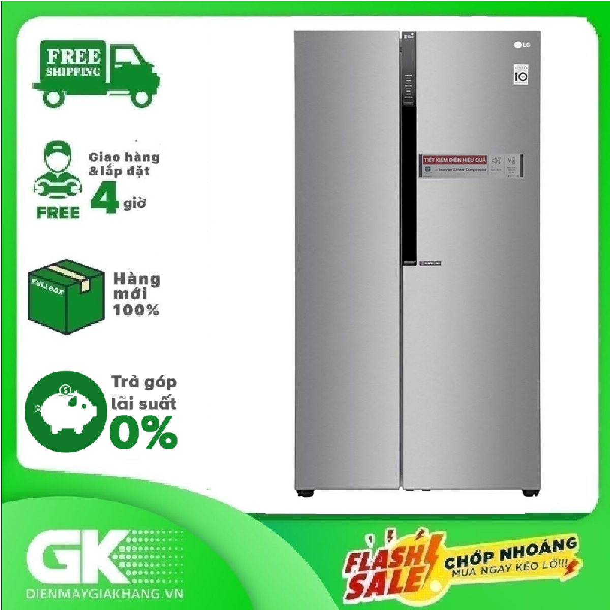 [THU THẬP VOUCHER GIẢM 1.000K TỪ LZD] Tủ lạnh LG Inverter 613 lít GR-B247JDS