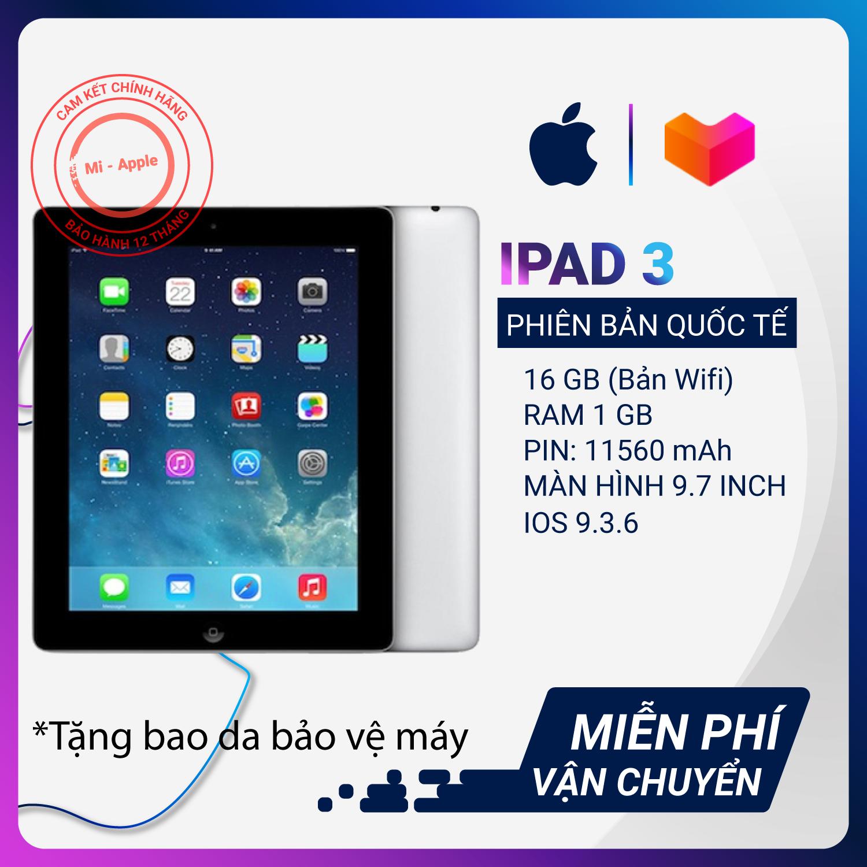 iPad 3 chính hãng quốc tế Tặng bao da củ sạc dây sạc bảo hành 6 tháng