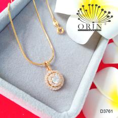 Dây chuyền mặt đá viền tròn dạng dây mì cao cấp Orin D3761