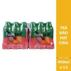 Combo 2 lốc 6 Trà hạt Chia Fuzetea hương Đào chai 450ml