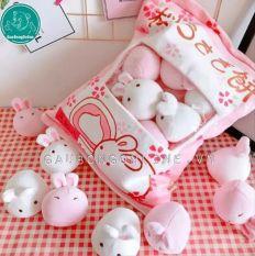 Gấu bông pudding thỏ siêu mềm mịn màu hồng kích thước 40cm