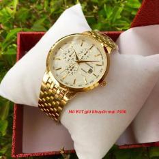 đồng hồ nam baishuns dây vàng mặt trắng,chống nước,chống xước