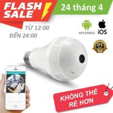 Camera wifi bóng đèn 1.3Megapixel xem toàn cảnh 360 độ 3 led phát sáng + 01 đui đèn cao cấp BH 12T