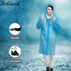 JvGood 2PC Transparent Raincoat Poncho Rainwear EVA Rain Cape Waterproof Portable Environmental Light Rain Coat with Hat Long Use Thick Unisex for Outdoor and Travel