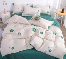 Trọn bộ chăn ga gối cotton Korea 5 món (mền chần bông) Hoa xanh