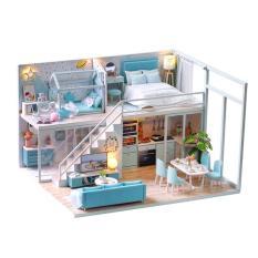 Mô hình nhà gỗ nhà búp bê barbie L028 có nội thất và đèn như hình