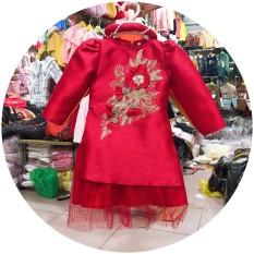 Áo dài gấm nhung cách tân đính đá cho bé yêu tặng kèm mấn đội đầu, áo dài cách tân cho bé gái, đồ tết cho bé gái