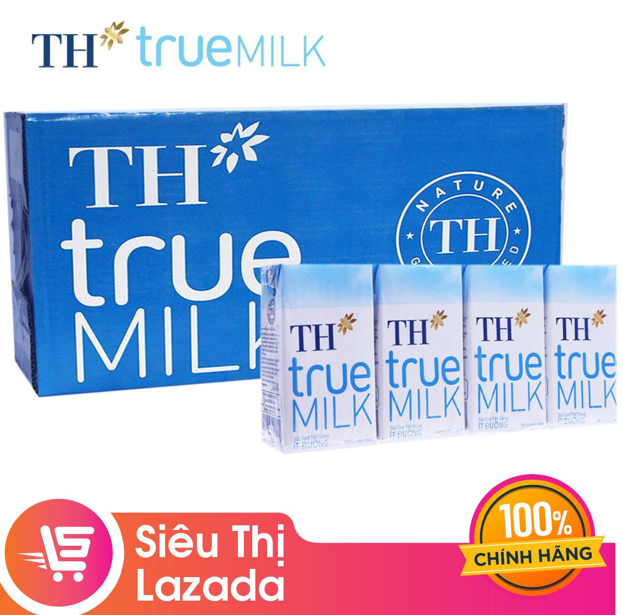 [Siêu thị Lazada]Thùng 48 hộp sữa tươi tiệt trùng ít đường TH True Milk (48 hộp x 110ml) dinh dưỡng tự nhiên tốt cho sức khỏe