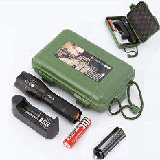 Đèn Pin Siêu Sáng 5 chế độ chiếu xa trăm mét T6 – Đèn Pin P0lice XML T6 – Bộ Sản phẩm đầy đủ gồm Thân đèn, Pin Sạc, Bộ Sạc,dụng cụ xài pin AAA, đồ bảo vệ Pin, 1 hộp đựng chắc chắn