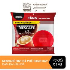 [Tặng 1 thố thủy tinh tiện dụng] Cà phê rang xay hòa tan Nescafé 3in1 đậm đà hài hòa (Bịch 46 gói x 17g)