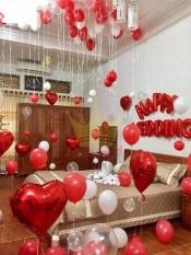 bóng cưới – Set bóng trang trí phòng cưới, tân hôn tông trắng – đỏ ( tặng bơm bóng, băng dính, dây ruy băng)