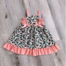 Váy nơ dây đui cá chất vải Đũi tơ thoáng mát cho bé từ 8kg đến 22kg