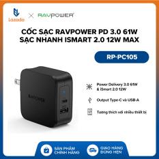 [FREESHIP – 18 THÁNG 1 ĐỔI 1 – ĐỘC QUYỀN LAZADA] Cốc sạc RAVPower PD 3.0 61W l Sạc nhanh iSmart 2.0 12W Max l Output Type-C & USB-A l RP-PC105 l HÀNG CHÍNH HÃNG
