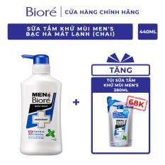 Sữa Tắm Khử Mùi Men's Bioré – Bạc Hà Mát Lạnh (Chai) 440ml Tặng Sữa Tắm Túi 380ml