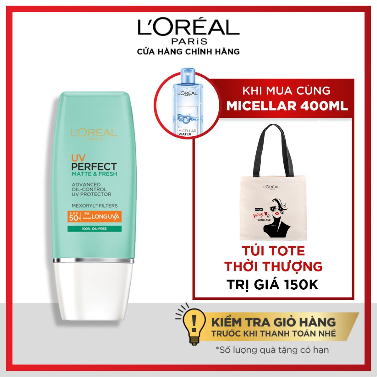 [Voucher giảm 10%] Kem chống nắng bảo vệ & dưỡng da se mịn lỗ chân lông & chống ô nhiễm L'Oreal Paris UV Perfect fresh & Matte SPF50/PA++++ 30ml