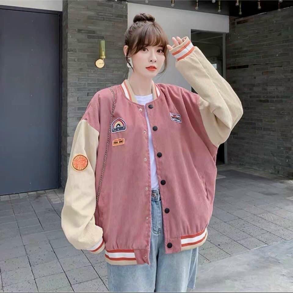 Áo Khoác Nhung Gân Kiểu Dáng BomBer Siêu Cute,Logo Thêu Bao Chất Nha Khách-TP