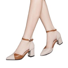 sandal nữ 5p gót vuông , giày nữ 5p cao gót phối màu cực xinh