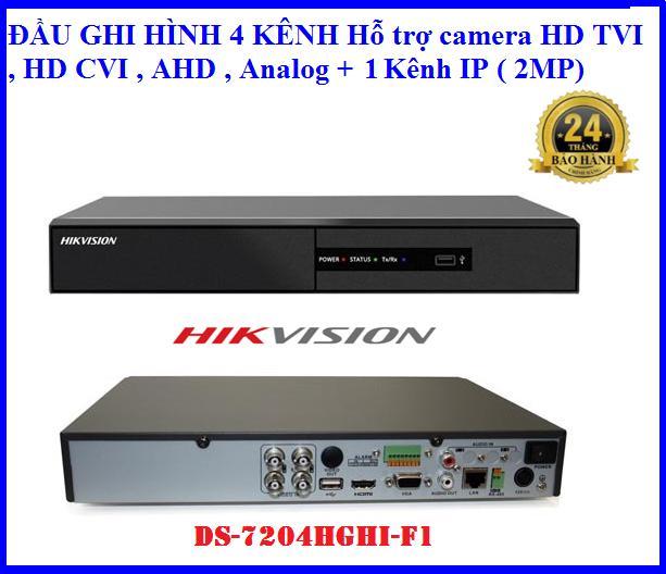 Đầu ghi hình hikvision DS-7204HGHI-F1, Hỗ trợ camera HD TVI , HD CVI , AHD , Analog ( 4 kênh...