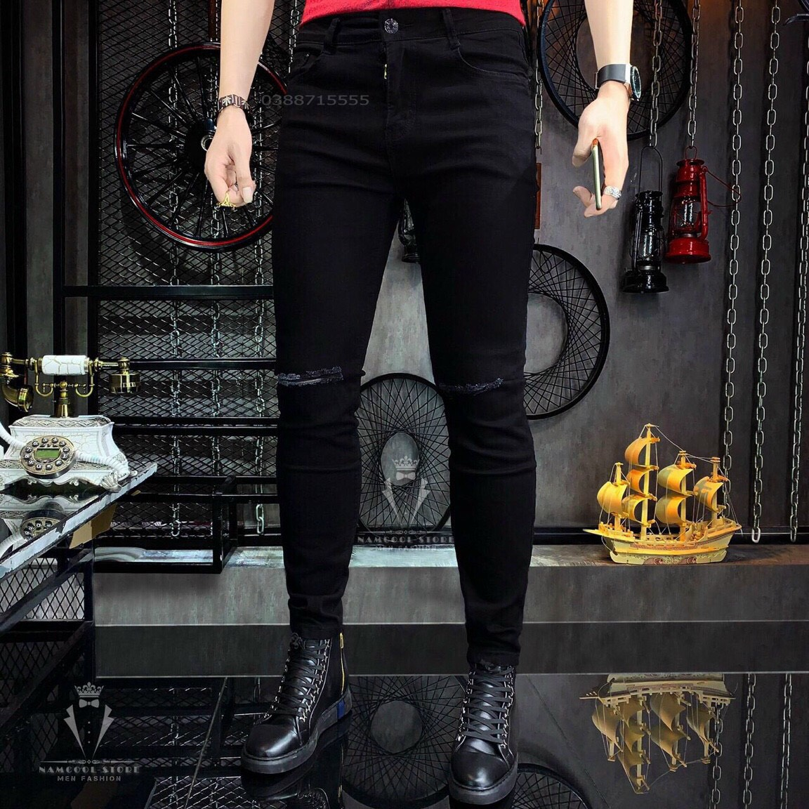 [HCM]Quần jean nam quần bò nam rách màu đen phong cách Hàn Quốc CandyFashion MS571