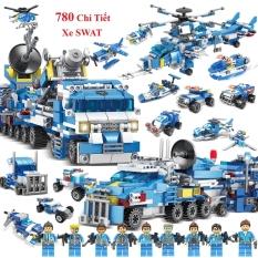 ⊕ [780 CHI TIẾT-HÀNG CHUẨN] BỘ ĐỒ CHƠI XẾP HÌNH LEGO CẢNH SÁT,Lắp Ghép OTO, ROBOT, Lắp Ráp Xe Swat, Trực Thăng, Máy Bay
