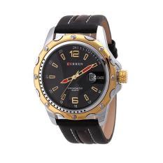 Đồng hồ nam dây da Curren 8104 (Đen phối vàng)