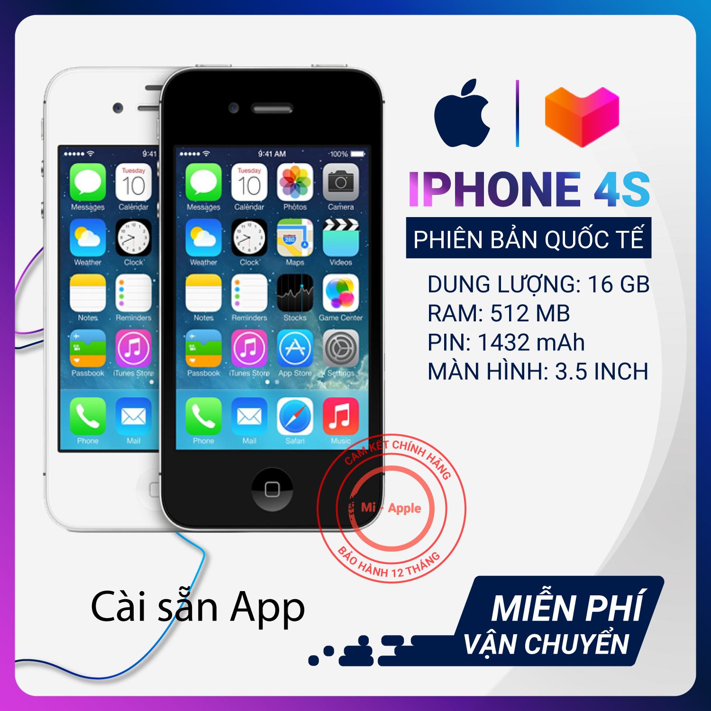 Điện thoại iPhone 4S Quốc tế bộ nhớ lên đến 16GB Bảo hành 3 tháng 1 đổi 1 tại nhà nếu lỗi do nhà sản xuất