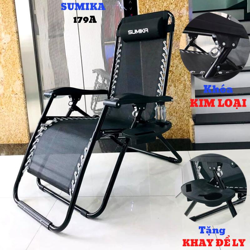 Ghế xếp thư giãn SUMIKA 179A – Khóa bằng kim loại, vải lưới Textilene thoáng khí, tải trọng 200kg, khung ghế bằng thép tròn không gỉ (Tặng khay đựng ly, điện thoại)