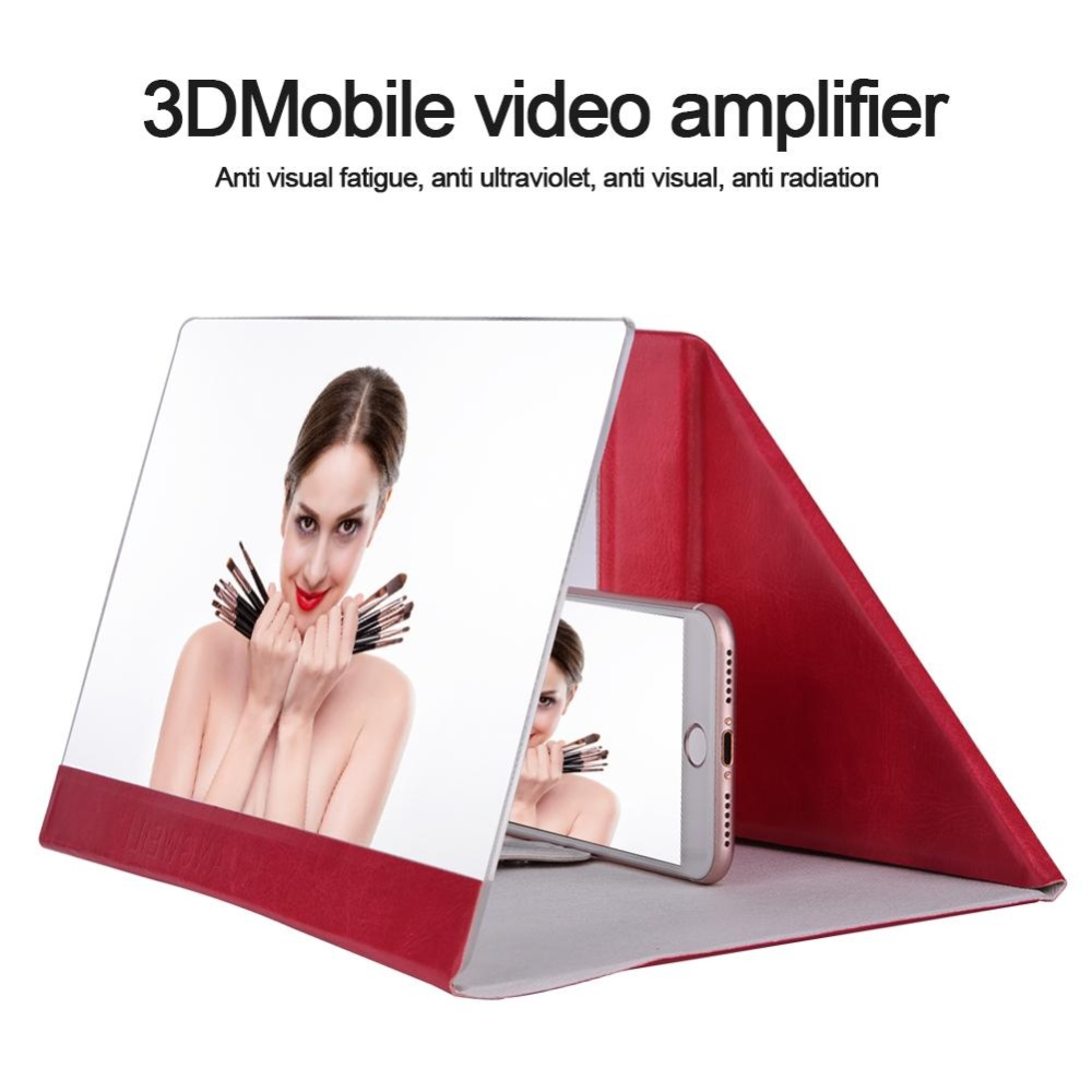 Bảng Giá 12 inch PU Có Thể Gập Lại Được Có Kính Phóng Đại Màn Hình 3D Phim HD Video Khuếch Đại cho (Hoa Hồng Đỏ)-quốc tế Tại Sweatbuy
