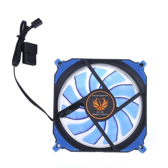 12cm 4pin+3pin PC Computer LED Cooling Brushless Fan(Blue) - intl