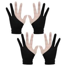 2 đôi Chuyên Nghiệp 2 ngón tay Nghệ Sĩ Máy Tính Bảng Vẽ Găng Tay Chống bám bẩn cho Máy Tính Bảng Vẽ Đồ Họa Vẽ Bút Kích Thước Hiển Thị S Màu Đen-quốc tế