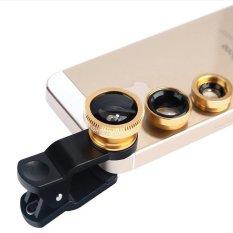 Đa Năng 3 trong 1 Kẹp Máy Ảnh Điện Thoại Di Động Ống Kính Mắt Cá + Macro + Góc Rộng cho iPhone Samsung (vàng)