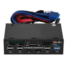 """5.25 """"Đa Chức Năng MÁY TÍNH Truyền Thông Bảng Đồng Hồ Mặt trước Tất Cả trong Một Đầu Đọc Thẻ USB 2.0 USB 3.0 20Pin ESATA SATA (Đen) -quốc tế"""