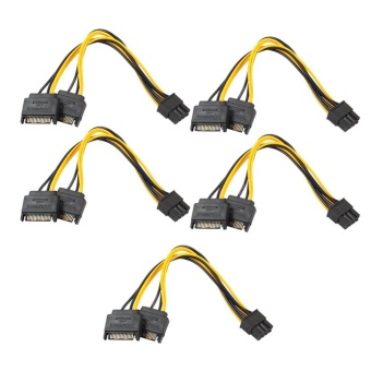 5pcs Dual 15Pin SATA Male To PCIe 8Pin(6+2) Male Video Card PowerCable - intl