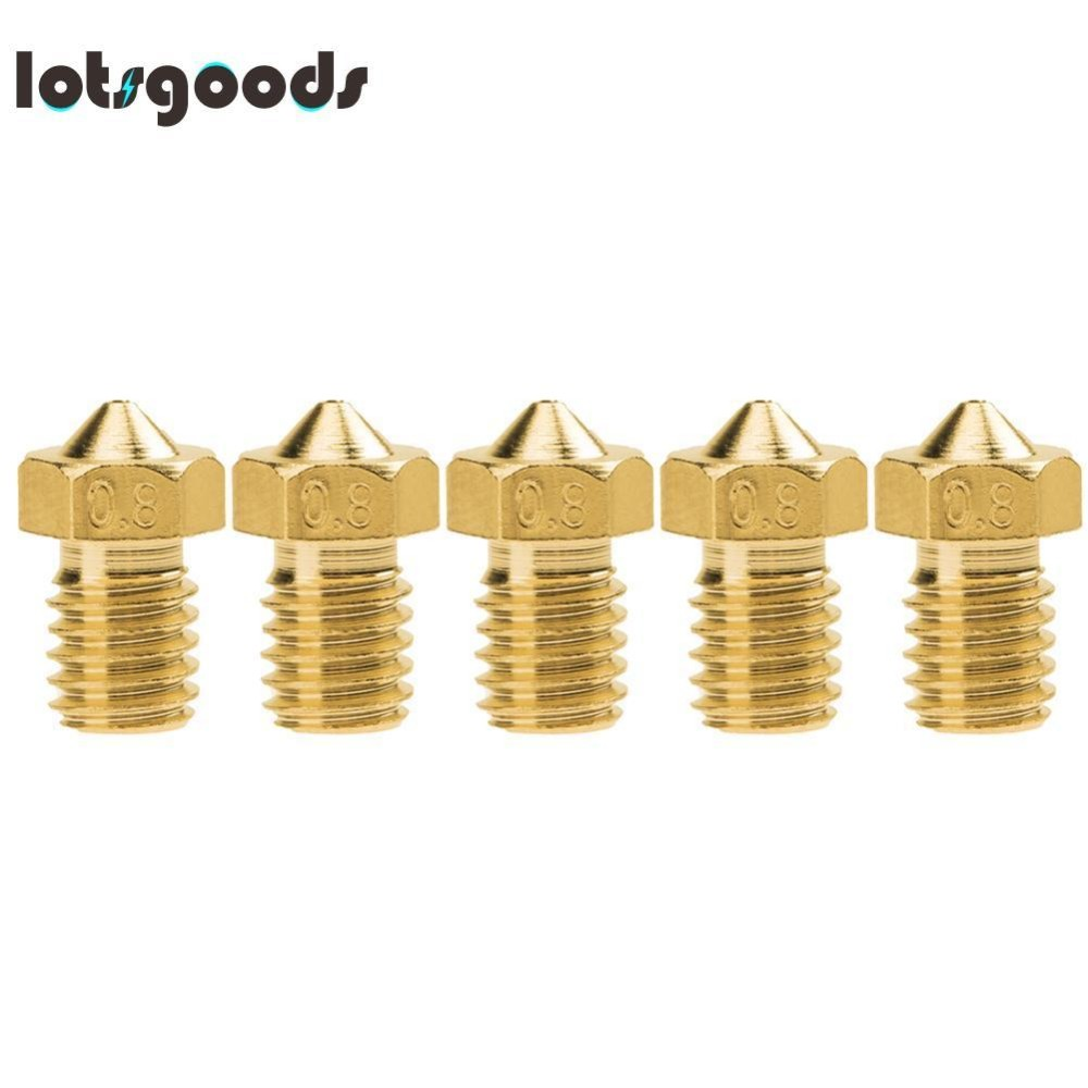 5pcs E3D-V5 V6 Nozzle M6 Threaded Brass(Gold)-1.75mm/0.8 Đang Bán Tại lotsgoods