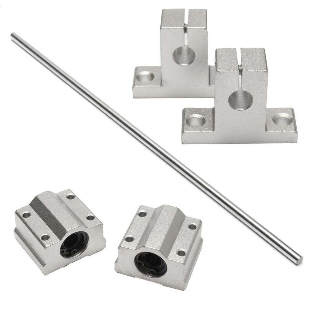 Mua 8mm x 500mm Linear Shaft Rail Rod Bearing Slide Support Set For CNC / 3D Printer Tại Freebang