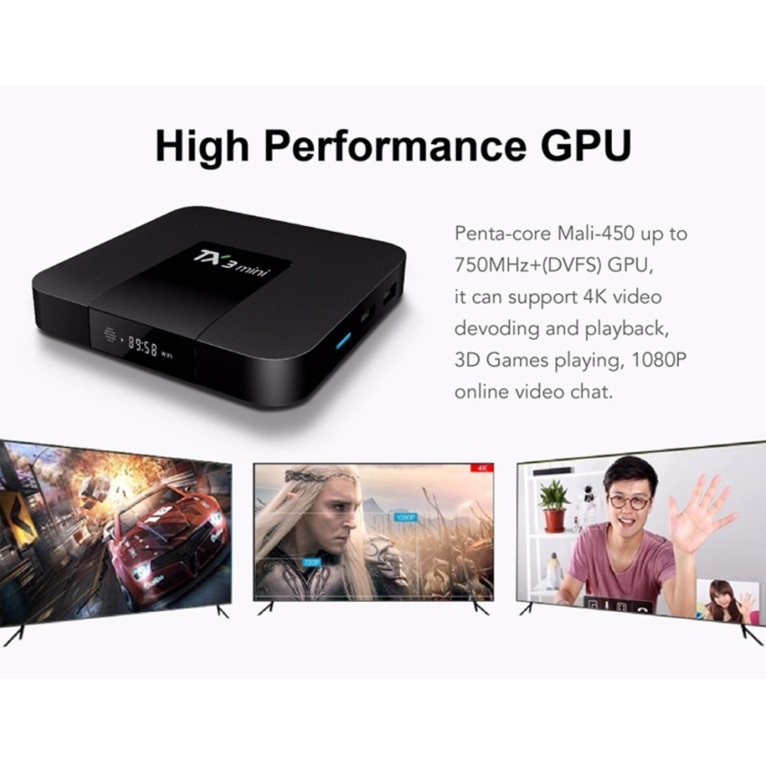 Androi Tivi Box TX3 - RAM 2G/16G-S905 TV Box Android 7.1 Support 4K x 2K WiFi