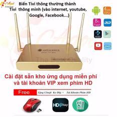 Android Tivi Box 4 anten + tặng chuột không dây và kho ứng dụng miễn phí