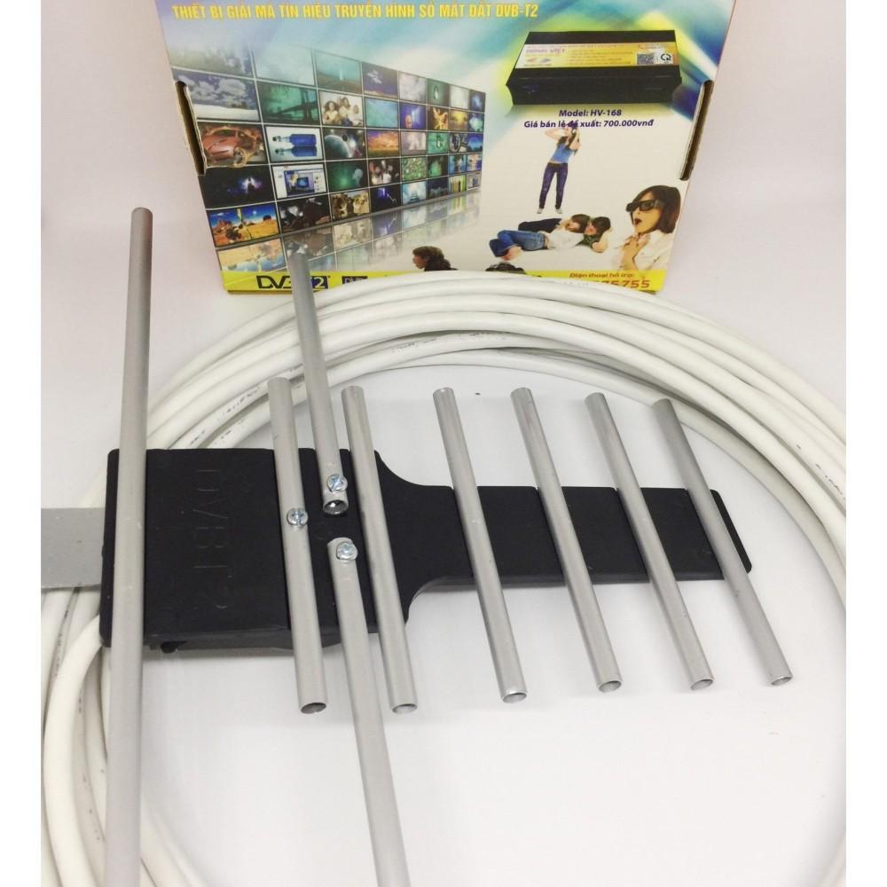Anten DVB T2 và 15m cáp đông trục RG6 bấm đầu sẵn (Xám)