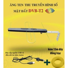 Anten khuếch đại DVB T2 + dây cấp nguồn 5V + 15m dây đồng trục đúc sẵn đầu jack